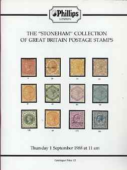 Auction Catalogue - Great Britain - Phillips 1 Sept 1988 - with the Stoneham coll - cat only