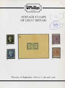 Auction Catalogue - Great Britain - Phillips 10 Sept 1992 - cat only (some ink notations)