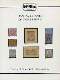 Auction Catalogue - Great Britain - Phillips 29 Oct 1992 - the R C Alcock stock - cat only (some ink notations)