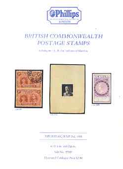 Auction Catalogue - British Commonwealth - Phillips 2 June 1988 - incl the A H Fitt coll of Mauritius - cat only