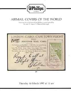 Auction Catalogue - Airmail Covers of the World - Phillips 16 Mar 1995 - incl the Dr James F Wilson coll - cat only