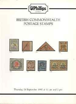 Auction Catalogue - Britsh Commonwealth - Phillips 24 Sept 1992 - the R C Alcock stock - cat only (some ink notations)