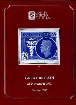 Auction Catalogue - Great Britain - Stanley Gibbons 28 Nov 1991 - incl KG6 & QEII varieties - with prices realised (few ink notations)