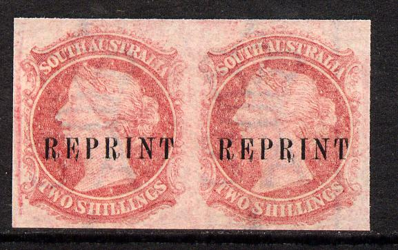 South Australia 1860 imperf pair of 2s carmine (SG 86/7) on watermarked Crown SA paper, each impression opt'd REPRINT (originals c �320)