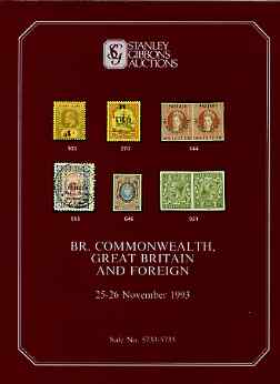 Auction Catalogue - British Commonwealth - Stanley Gibbons 25-26 Nov 1993 - plus Great Britain & Foreign) - cat only (few ink notations)