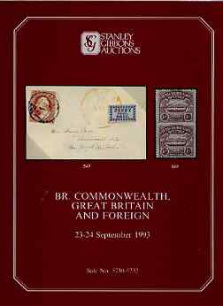 Auction Catalogue - British Commonwealth - Stanley Gibbons 23-24 Sept 1993 - plus Great Britain & Foreign) - with prices realised (few ink notations)