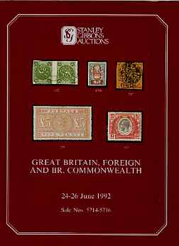 Auction Catalogue - British Commonwealth - Stanley Gibbons 24-26 June 1992 - plus Great Britain & Foreign) - with prices realised (few ink notations)