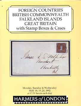 Auction Catalogue - Falkland Islands - Harmers 18-20 May 1992 - incl the Raymond Blackler coll plus Commonwealth & Great Britain - with prices realised (some ink notation...