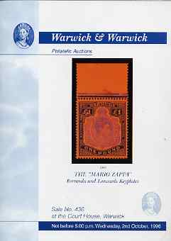 Auction Catalogue - Bermuda & Leeward Keyplates - Warwick & Warwick  2 Oct 1996 - the Mario Zappa collection - cat only