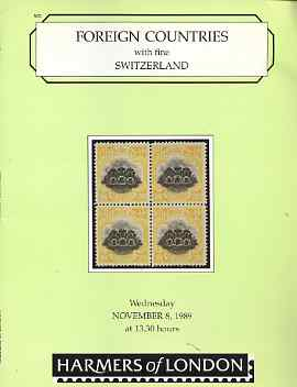 Auction Catalogue - Switzerland - Harmers 8 Nov 1989 - the E C Slate coll plus Foreign - with prices realised