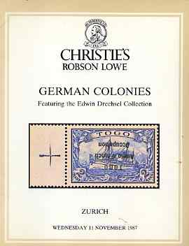 Auction Catalogue - German Colonies - Christies Robson Lowe 11 Nov 1987 - the Edwin Drechsel coll - with prices realised