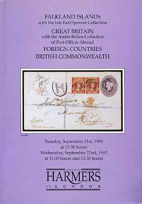 Auction Catalogue - Great Britain & Falkland Islands - Harmers 21-22 Sept 1993 - the Earl Spencer (Falklands) & Andre Bollen (Great Britain Post Offices Abroad) - with pr...