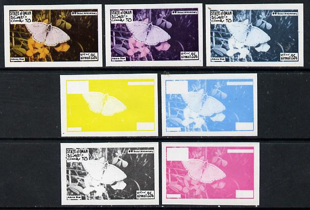 Oman 1974? Scout Anniversary - Butterflies 25b (Adonis Blue) set of 7 imperf progressive colour proofs comprising the 4 individual colours plus 2, 3 and all 4-colour composites unmounted mint