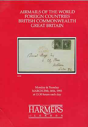 Auction Catalogue - Airmails of the World - Harmers 29-30 Mar 1993 - incl  the Coni coll of Gambia - with prices realised