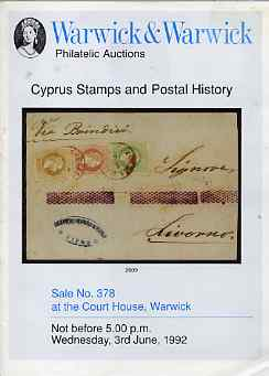 Auction Catalogue - Cyprus - Warwick & Warwick 3 June 1992 - with prices realised