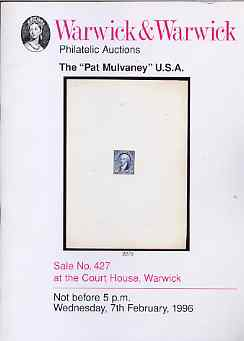 Auction Catalogue - United States - Warwick & Warwick 7 Feb 1996 - the Pat Mulvaney coll - cat only