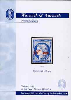 Auction Catalogue - France & Colonies - Warwick & Warwick 4 Dec 1996 - cat only