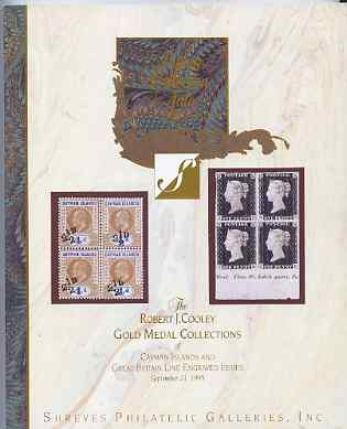 Auction Catalogue - Cayman Islands & Great Britain Line Engraved - Shreves 23 Sept 1995 - the Robert J Cooley Gold Medal collections - cat only