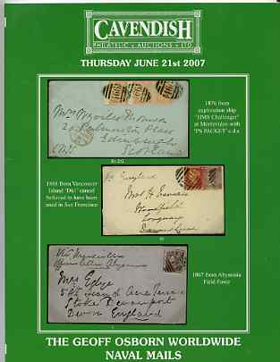 Auction Catalogue - Naval Mails - Cavendish 21 June 2007 - the Geoff Osborn collection - cat only