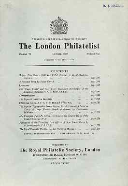 Literature - London Philatelist Vol 78 Number 0922 dated Oct 1969 - with articles relating to Orange Free State, Straits Settlements, Christmas Island, Greece & New South...