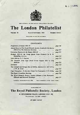 Literature - London Philatelist Vol 78 Number 0920-21 dated Aug-Sept 1969 - with articles relating to Netherlands, Denmark, Perkins Bacon & Cape of Good Hope