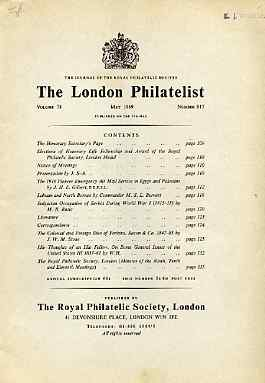 Literature - London Philatelist Vol 78 Number 0917 dated May 1969 - with articles relating to Egypt, Palestine, Labuan, North Borneo, Serbia & Perkins Bacon