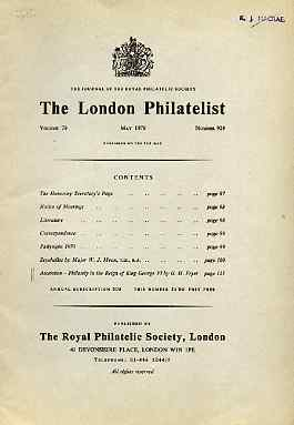 Literature - London Philatelist Vol 79 Number 0929 dated May 1970 - with articles relating to Seychelles & Ascension