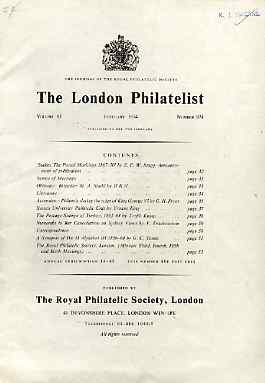 Literature - London Philatelist Vol 83 Number 0974 dated Feb 1974 - with articles relating to Sudan, Ascension, Turkey, New South Wales & Great Britain Die II Alphabet II...