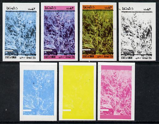 Oman 1973 Orchids (With Scout Emblems) 20b (Frog Orchid) set of 7 imperf progressive colour proofs comprising the 4 individual colours plus 2, 3 and all 4-colour composites unmounted mint