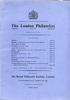 Literature - London Philatelist Vol 84 Number 0990 dated June 1975 - with articles relating to Mauritius, Perkins Bacon, Chile, British Solomon Islands & Zambia