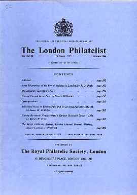 Literature - London Philatelist Vol 84 Number 0994 dated Oct 1975 - with articles relating to P&O Contract Packets & Newfoundland