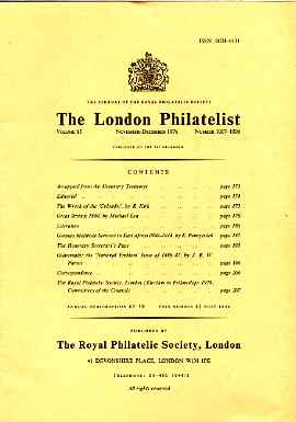 Literature - London Philatelist Vol 85 Number 1007-08 datedov-Dec 1976 - with articles relating to Colombo (wreck), Great Britain, Germany & Guatemala