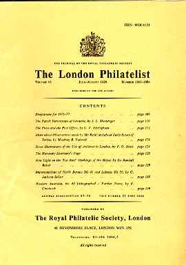 Literature - London Philatelist Vol 85 Number 1003-04 dated July-Aug 1976 - with articles relating to Grenada, Serbia, Archives, Hejaz, North Borneo & Western Australia