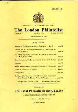 Literature - London Philatelist Vol 85 Number 1001-02 dated May-June 1976 - with articles relating to Trinidad, Estonia, Archives, German East Africa & Ceylon
