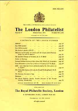 Literature - London Philatelist Vol 85 Number 0999-1000 dated Mar-Apr 1976 - with articles relating to Mauritius, Trinidad, Specimen of Tasmania, Archives, German East Af...