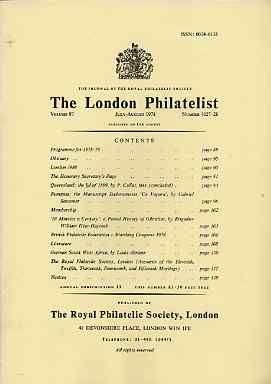 Literature - London Philatelist Vol 87 Number 1027-28 dated July-Aug 1978 - with articles relating to Queensland, Rumania, Gibraltar & German South West Africa