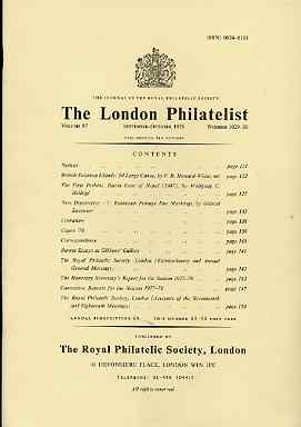 Literature - London Philatelist Vol 87 Number 1029-30 dated Sept-Oct 1978 - with articles relating to British Solomon Islands, Perkins Bacon, Nepal, Rumania & Burma