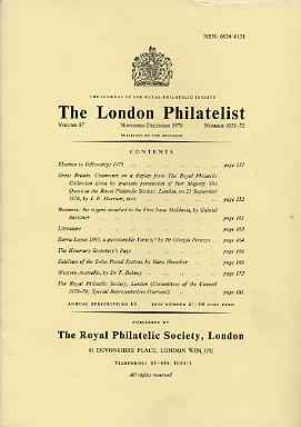 Literature - London Philatelist Vol 87 Number 1031-32 dated Nov-Dec 1978 - with articles relating to Great Britain (The Royal Collection), Rumania, Sierra Leone, Switzerl...