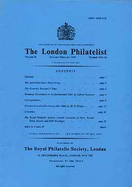 Literature - London Philatelist Vol 88 Number 1033-34 dated Jan-Feb 1979 - with articles relating to Australian States, Rumania & Western Australia