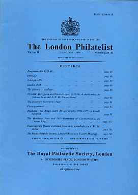 Literature - London Philatelist Vol 88 Number 1039-40 dated July-Aug 1979 - with articles relating to Victoria, Rhodesia & Czechoslovakia