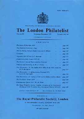 Literature - London Philatelist Vol 88 Number 1043-44 dated Nov-Dec 1979 - with articles relating to St Helena, Argentine, Italian POs in Holy Land, India & Great Britain...