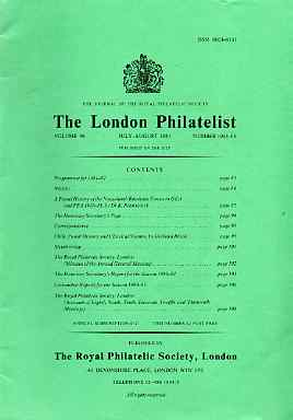 Literature - London Philatelist Vol 90 Number 1063-64 dated Jul-Aug 1981 - with articles relating to Nyasaland, Rhodesia & Chile,