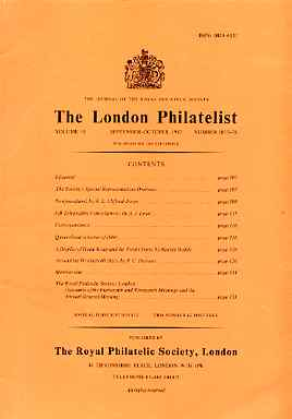 Literature - London Philatelist Vol 91 Number 1077-78 dated Sept-Oct 1982 - with articles relating to Newfoundland, Great Britain Telegraph Cancel, Queensland & Hong Kong