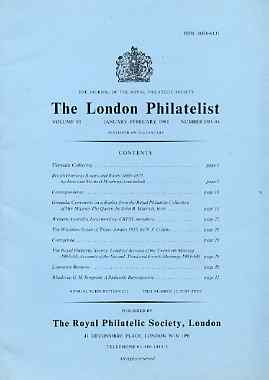 Literature - London Philatelist Vol 93 Number 1093-94 dated Jan-Feb 1984 - with articles relating to Grenada (The Royal Collection), Western Australia, Trans Jordan & Rho...