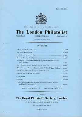 Literature - London Philatelist Vol 93 Number 1095-96 dated Mar-Apr 1984 - with articles relating to Rumania, Hungary, Great Britain Officials & Ethiopia
