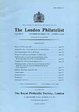 Literature - London Philatelist Vol 93 Number 1103-04 dated Nov-Dec 1984 - with articles relating to Monaco, FPOs Afghanistan, Trinidad & Austro-Hungary
