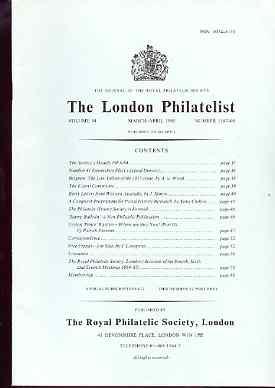 Literature - London Philatelist Vol 94 Number 1107-08 dated Mar-Apr 1985 - with articles relating to Belgium, Western Australia, Ceylon & Free Franks
