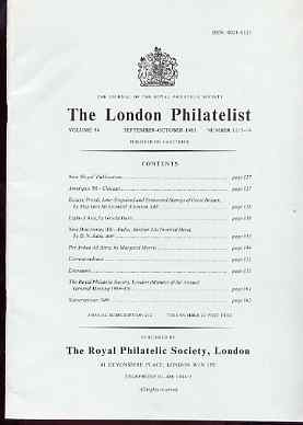 Literature - London Philatelist Vol 94 Number 1113-14 dated Sept-Oct 1985 - with articles relating to Great Britain Embossed & India