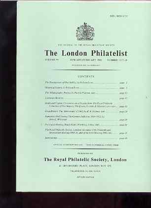 Literature - London Philatelist Vol 95 Number 1117-18 dated Jan-Feb 1986 - with articles relating to Malta & Cyprus (The Royal Collection), Great Britain Abnormals & Germany