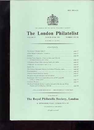 Literature - London Philatelist Vol 95 Number 1119-20 dated Mar-Apr 1986 - with articles relating to Ceylon, Curacao, Surinam, Alderney & Montenegro